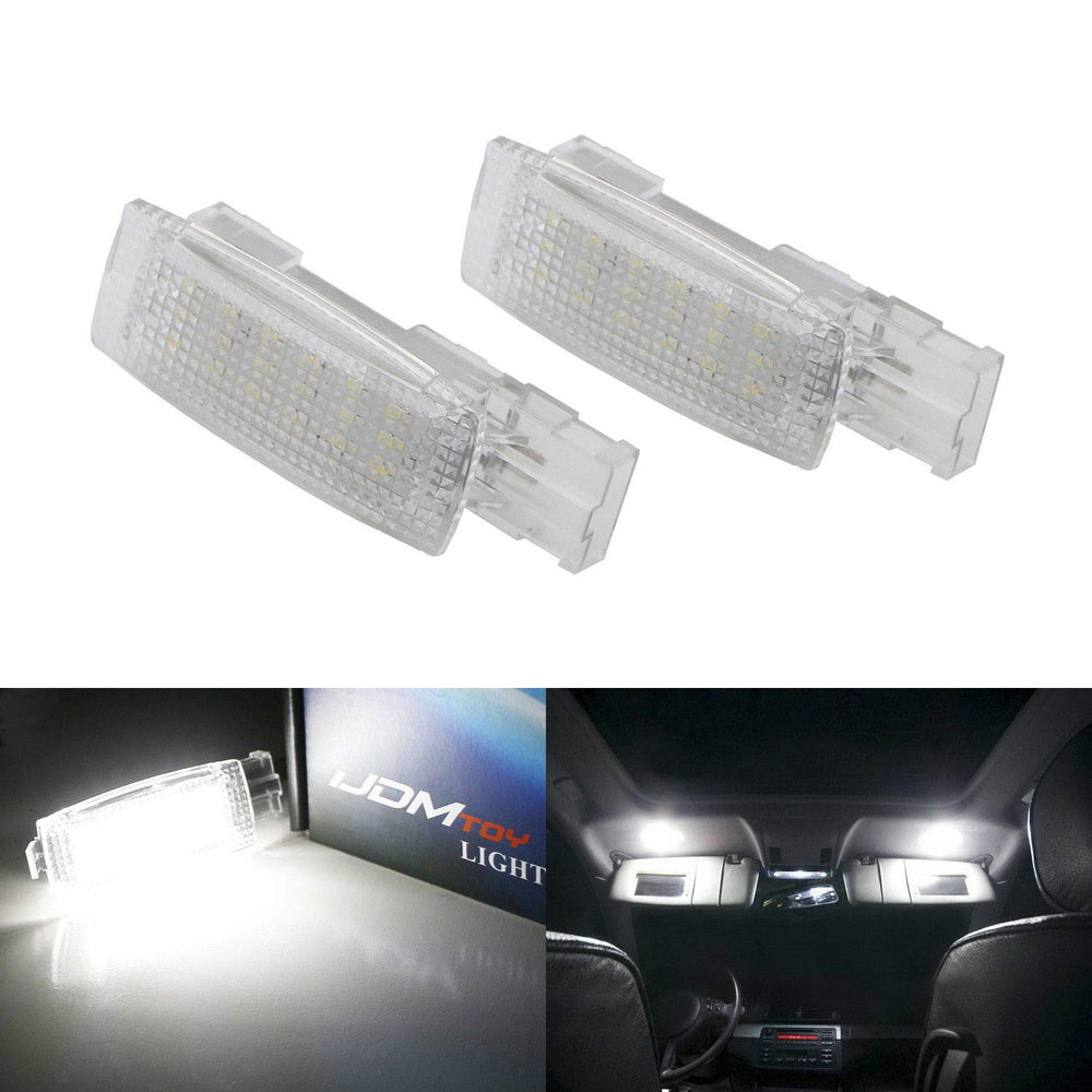 (2) Full LED Sun Visor Lamps For Volkswagen Golf GTI Jetta Passat CC EOS Touareg etc., OEM Replacement, Powered by 18-SMD Xenon White LED Lights & CAN-bus Error Free-iJDMTOY