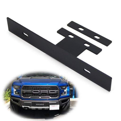 No-Drill OEM Tow Hook Ring Mount Front License Plate Relocator Bracket For 2017-up Ford Raptor-iJDMTOY