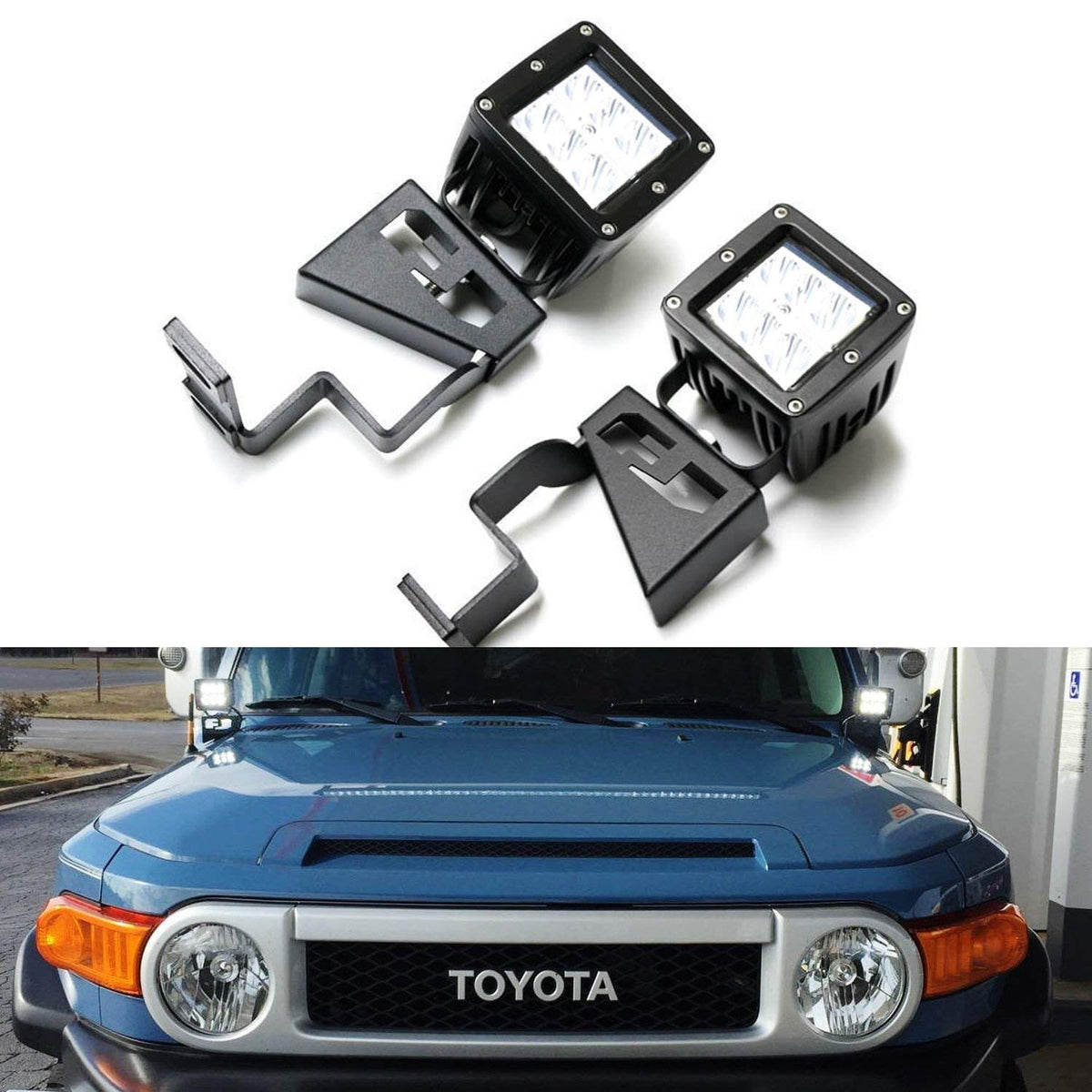 BEIJIAOFLY for Front Hood Cornor LED Work Lights A Pillar Light Mount Aluminium Alloy Mounting Brackets Fit Ford F150 Raptor 2009 2010 2011 2012 2013 2014 2015 F-150