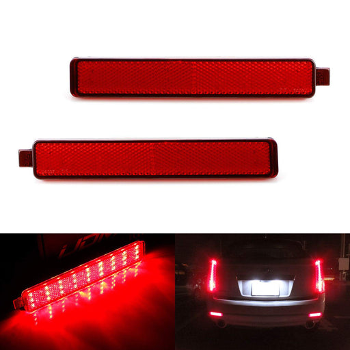 Red Lens 54-SMD LED Bumper Reflector Lights For 07-13 Cadillac CTS Sedan 07-16 GMC Acadia, 08-12 Buick Enclave, 05-09 Chevy Equinox, Function as Tail, Brake & Rear Fog Lamps-iJDMTOY