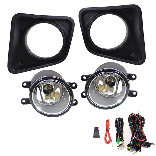 Complete Set Fog Lights Foglamp Kit with Halogen Bulbs, Wiring On/Off Switch and Garnish Bezel Covers For 2014-up Toyota Tundra-iJDMTOY