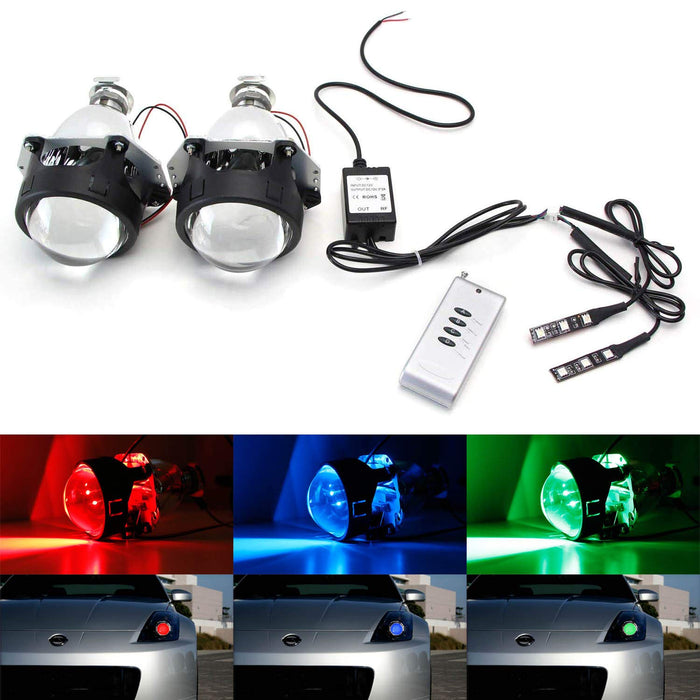 "3.0"" H1 Bi-Xenon HID Retrofit Projector Lens w/ Wireless Remote Control RGB LED Demon Eye Kit For Custom Headlight DIY-iJDMTOY"