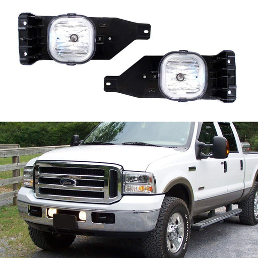 (2) Replacement Fog Lights Foglamps w/ 9145 H10 Halogen Bulbs For 2005-2007 Ford F-250 F-350 F-450 Excursion (For OEM# 6C3Z 15200 AA, 6C3Z 15200 BA, FO2593211, FO2592211)-iJDMTOY