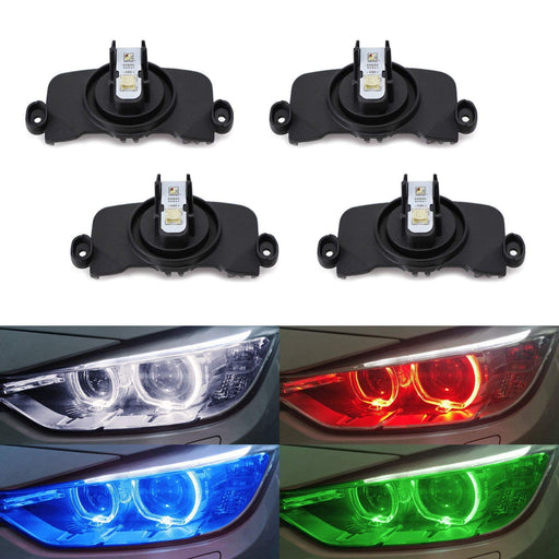 (4) RGBW Angel Eye Marker Bulbs For BMW F30 F31 3 Series HID Adaptive Headlight Trims (320i 328i 330i 335i 340i etc.) Smartphone Remote Controlled-iJDMTOY