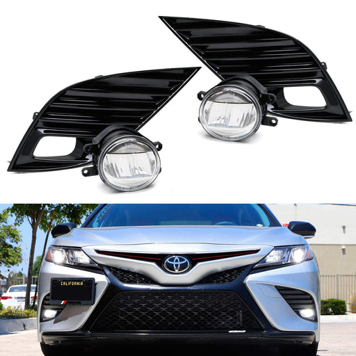 JDM Style OEM-Spec 15W LED Fog Light Kit For 2018-up Toyota Camry SE & XSE, Includes (2) LED Fog Lamps, Gloss Black Bezel Covers & On/Off Switch Relay Wiring Harness-iJDMTOY
