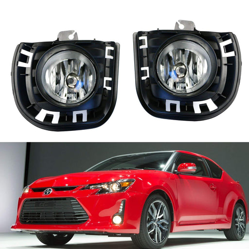 Complete Set Fog Lights Foglamps w/ H11 Halogen Bulbs, Garnish Covers, Wiring On/Off Switch For 2014-up Scion tC-iJDMTOY