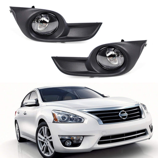 Complete Set Fog Lights Foglamps w/ H11 Halogen Bulbs, Wiring & On/Off Switch For 2013-2015 Nissan Altima-iJDMTOY