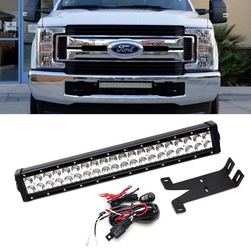 "Front Bumper Mount 20"" LED Light Bar Kit For 2017-up Ford F250 F350 Super Duty, Includes (1) 120W High Power LED Lightbar, Lower Bumper Mounting Brackets & On/Off Switch Wiring Kit-iJDMTOY"
