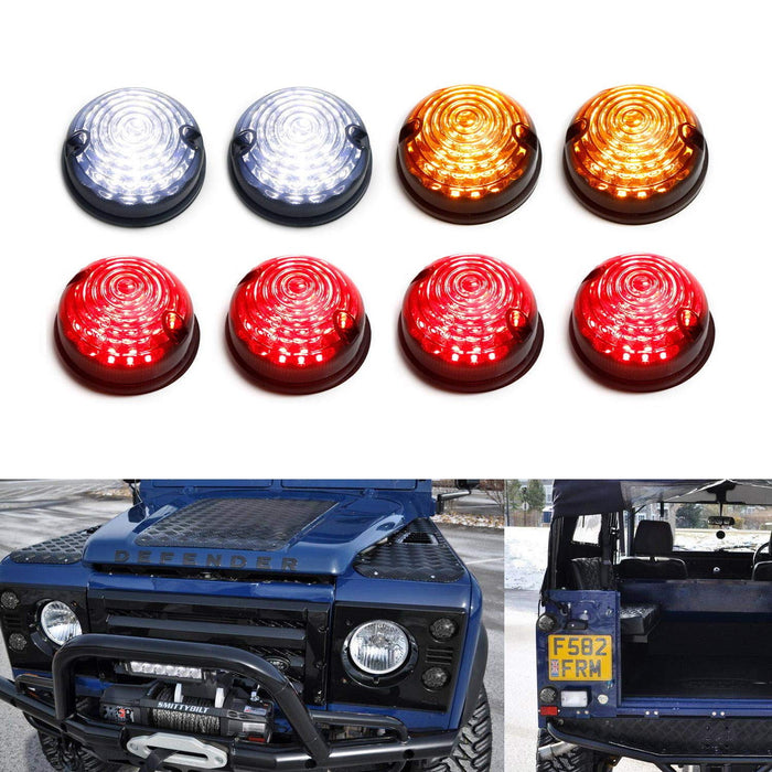 (8) Smoked Lens Full LED Upgrade Kit For Land Rover Defender Series 2 3 (Fit Front & Rear Turn Signal, Parking Driving & Brake Tail Light Assembiles)-iJDMTOY