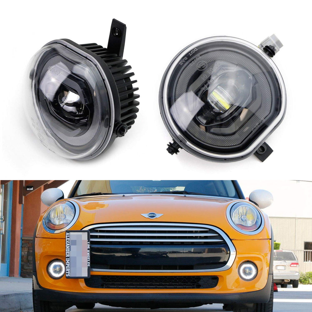 Xenon White LED 3-In-1 LED Foglamp Kit For 14/15-up MINI Cooper F54 F55 F56 3rd Gen, Exact Fit, Function as Halo Ring Daytime Running Lights, Parking/Clearance Lights & Fog Driving Lights-iJDMTOY
