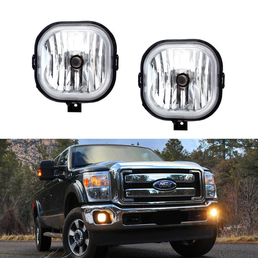 (2) OEM Replacement Fog Lamps Assy w/ H10 Halogen Bulbs For 1999-2016 Ford F-250 F-350 F-450 & 2001-2004 Ford Excursion (No Bezels, Good For Repair Replacement ONLY)-iJDMTOY