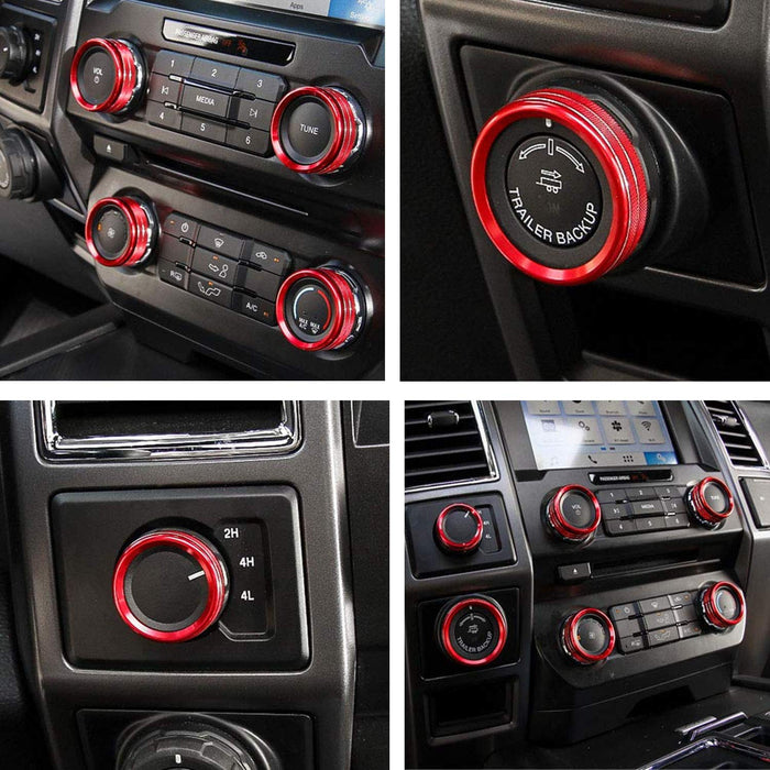 Abfer 6pcs Car Air Condition Button Covers Radio Volume Decorative Ring Four-Wheel Drive Switch Conditioning Control Knob Ring Aluminum Alloy for Ford F150 XLT 2016 2017 Blue