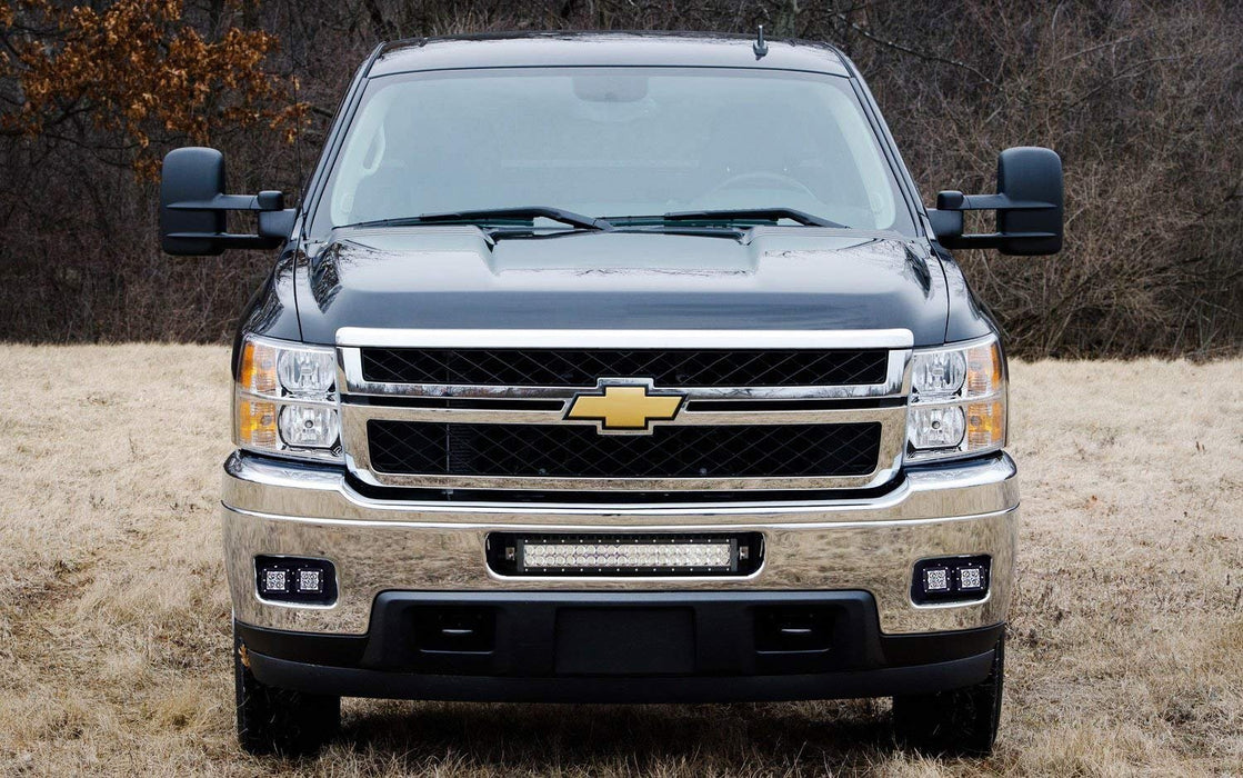 LED Pod Light Fog Lamp Kit For 2007-14 Chevy Silverado 1500 2500 3500 HD, Includes (4) 20W High Power CREE LED Cubes, Foglight Location Mounting Brackets & On/Off Switch Wiring Kit-iJDMTOY