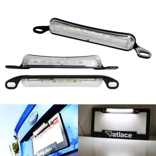 Two-Way License Frame Mount LED License Plate Light For Car Truck SUV Van RV, Powered by 9 Pieces Xenon White LED as License Lamp & 6 Pieces LED as Back Reverse Light-iJDMTOY