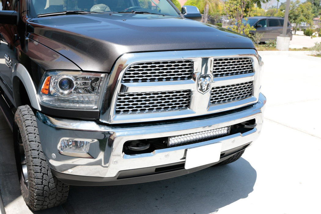 "Lower Grille 20"" LED Light Bar Kit For 2009-18 Dodge RAM 2500 3500 HD, Includes (1) 120W High Power LED Lightbar, Lower Bumper Opening Mounting Brackets & On/Off Switch Wiring Kit-iJDMTOY"