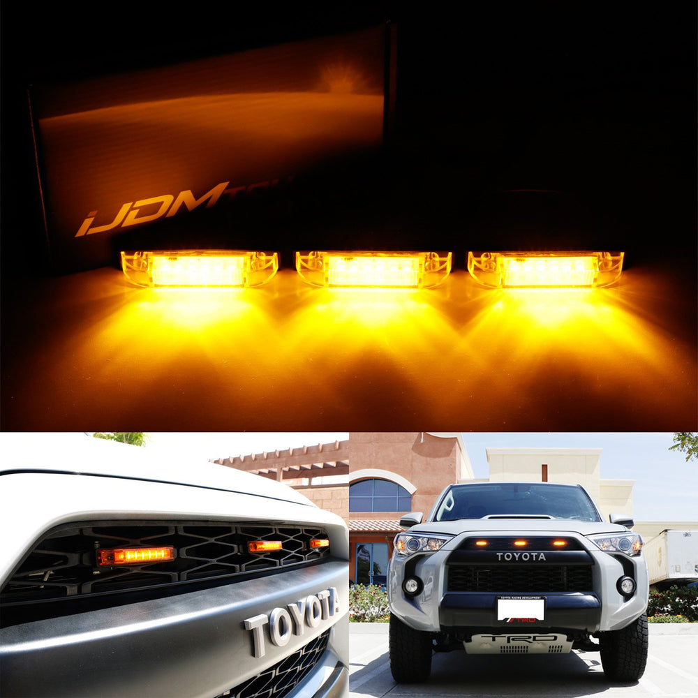 3pc Amber LED Center Grille Marker Lights For 2014-up Toyota 4Runner or 2012-up Toyota Tacoma TRD Pro (Amber Lens, 6-LED, Come w/ Wiring and Hardware)-iJDMTOY