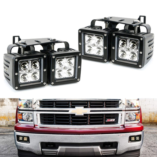 Dual LED Pod Light Fog Lamp Kit For 2014-15 Chevy Silverado 1500, Includes (4) 20W High Power CREE LED Cubes, Foglight Location Mounting Brackets & Wiring/Adapter Harnesses-iJDMTOY