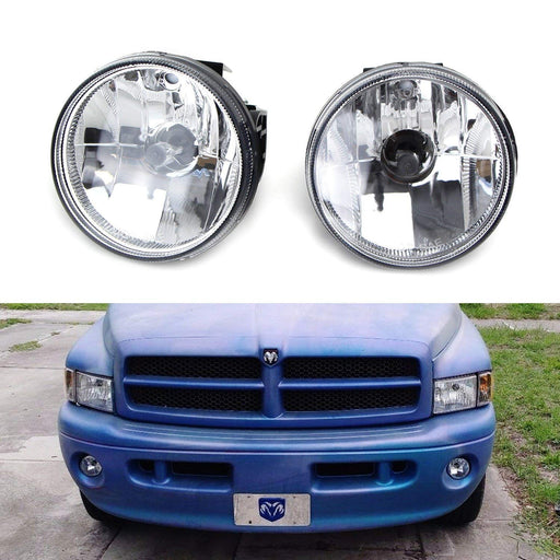 Clear Lens Fog Lights Foglamp Kit with H3 Halogen Bulbs For 1999-2002 Dodge RAM 1500 2500 w/ Sport Package Bumper ONLY-iJDMTOY