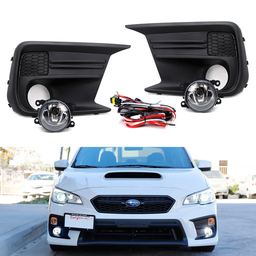 Complete Set Clear or Smoked Lens Fog Light Kit with Foglamp Bezel Covers, Wiring Harness On-Off Switch For 2018-up Subaru WRX or STI-iJDMTOY