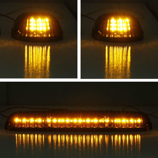3pc-Set Clear Lens Cab Roof Top Marker Running Lamps w/ Amber LED Lights For Truck Pickup 4x4 SUV-iJDMTOY