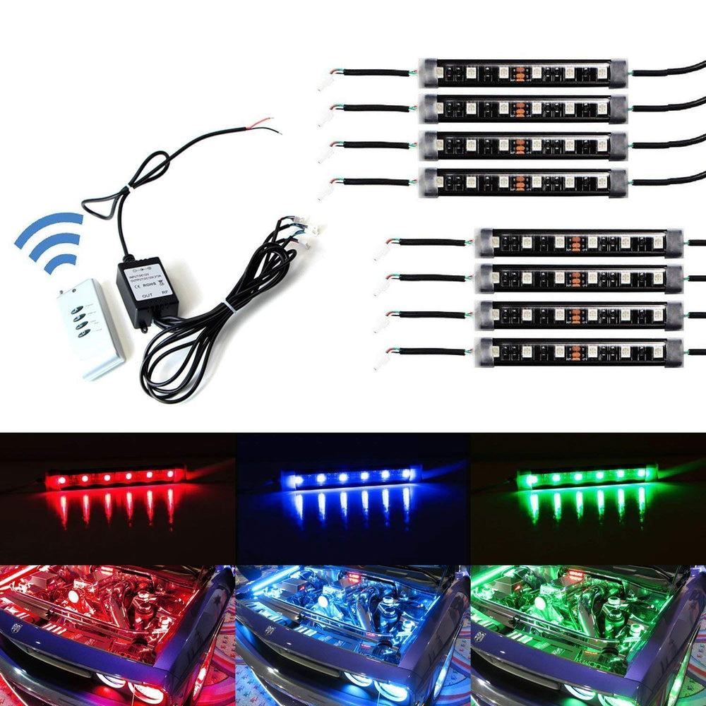 8-Piece Universal Fit 48-LED RGB Multi-Color LED Engine Bay or Under Car Ambient Decorational Lighting Kit w/ Wireless Remote Control-iJDMTOY