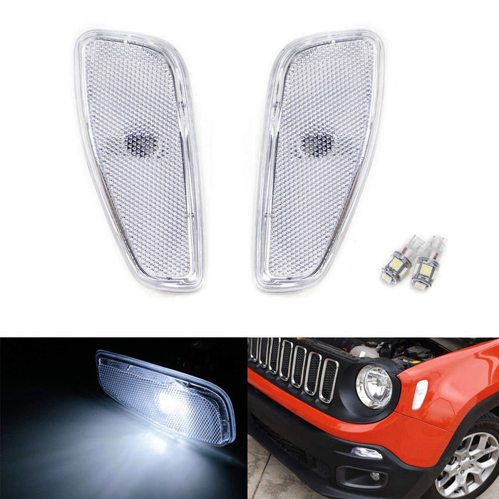 Orange Lens Side Marker Lamps T10 White LED For Jeep Renegade Parts 2015-2018
