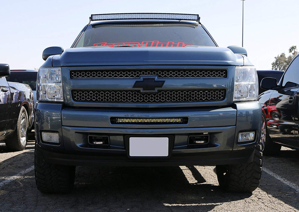 "Lower Grille 20"" LED Light Bar Kit For 2011-13 Chevy Silverado 1500 & 07.5-10 2500 3500 HD, Includes (1) 100W High Power CREE LED Lightbar, Lower Bumper Mounting Brackets & Switch Wiring Kit-iJDMTOY"