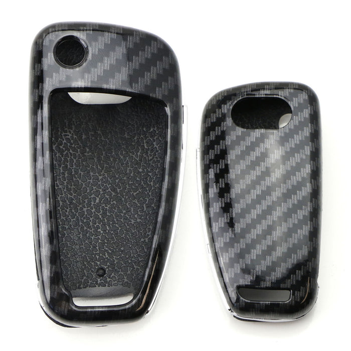 934c320bf3fef4 Exact Fit Black Glossy Carbon Fiber Finish Key Fob Shell For Audi A3 S3 A4  S4