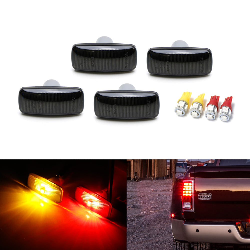Smoked Lens Amber/Red LED Trunk Bed Marker Lights Set For 2010-18 Dodge RAM 2500HD 3500HD Dually Truck Double Wheel Side Fenders, Powered by Total 20 LED