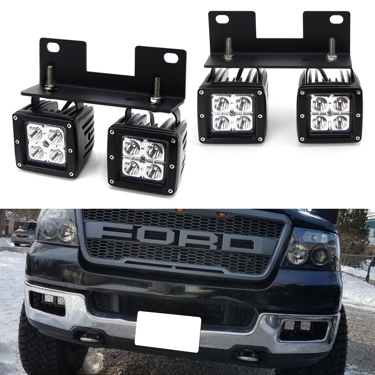 Dual Led Pod Light Fog Lamp Kit For 2004 06 Ford F150 06 Lincoln Mark Lt 4 20w Cree Led Cubes Foglight Location Mounting Brackets Wiring