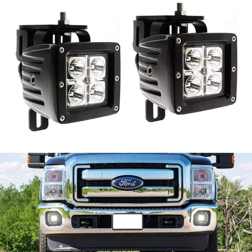 LED Pod Light Fog Lamp Kit For 1999-2016 Ford F250 F350 F450 Super Duty, Includes (2) 20W High Power CREE LED Cubes, Foglight Location Mount Brackets & Wiring/Adapter Harnesses-iJDMTOY