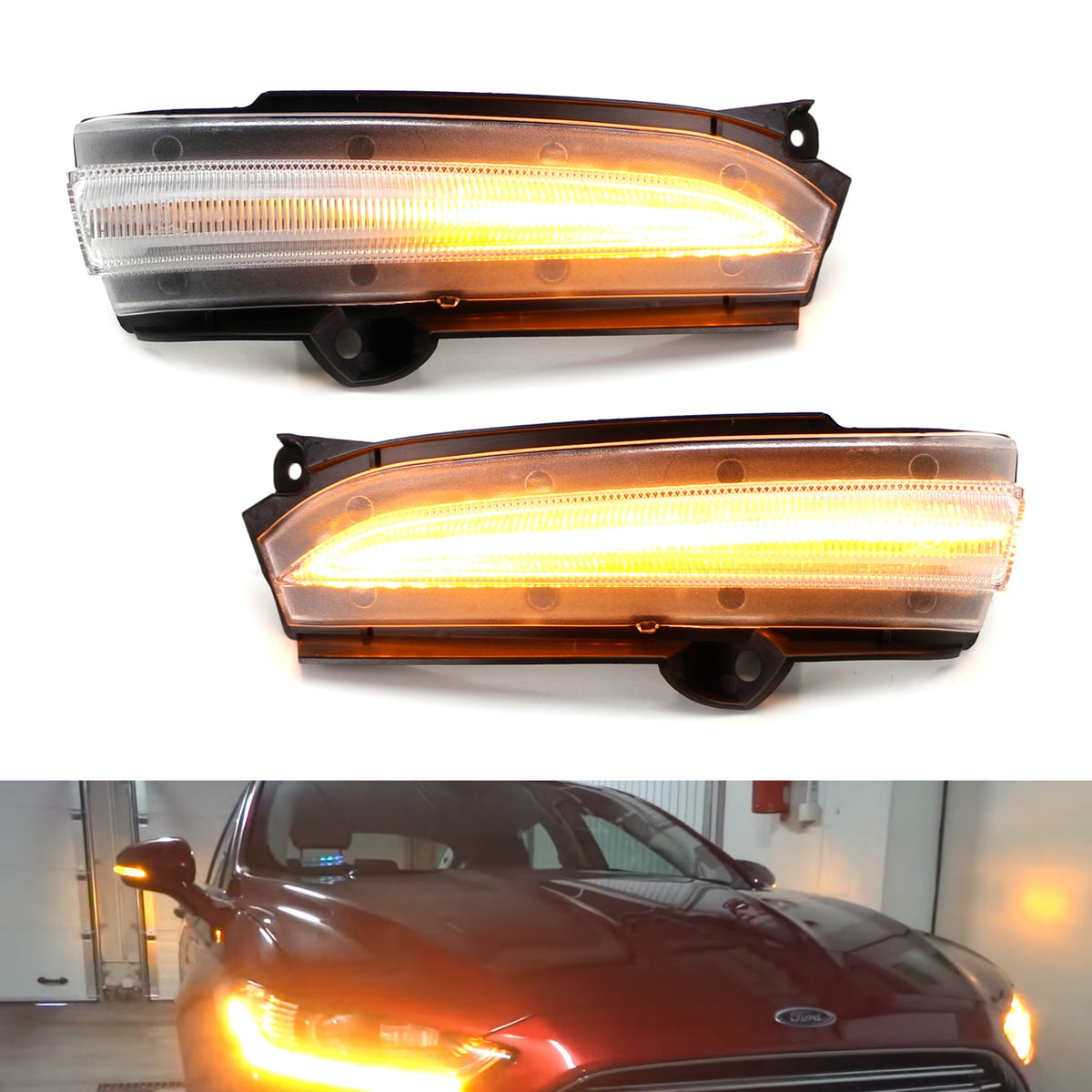 Jinfili Sequential Dynamic LED Turn Signal Light Side Mirror Marker Lamp Blinker Indicator Fit for Ford Kuga Ecosport 2013-2018