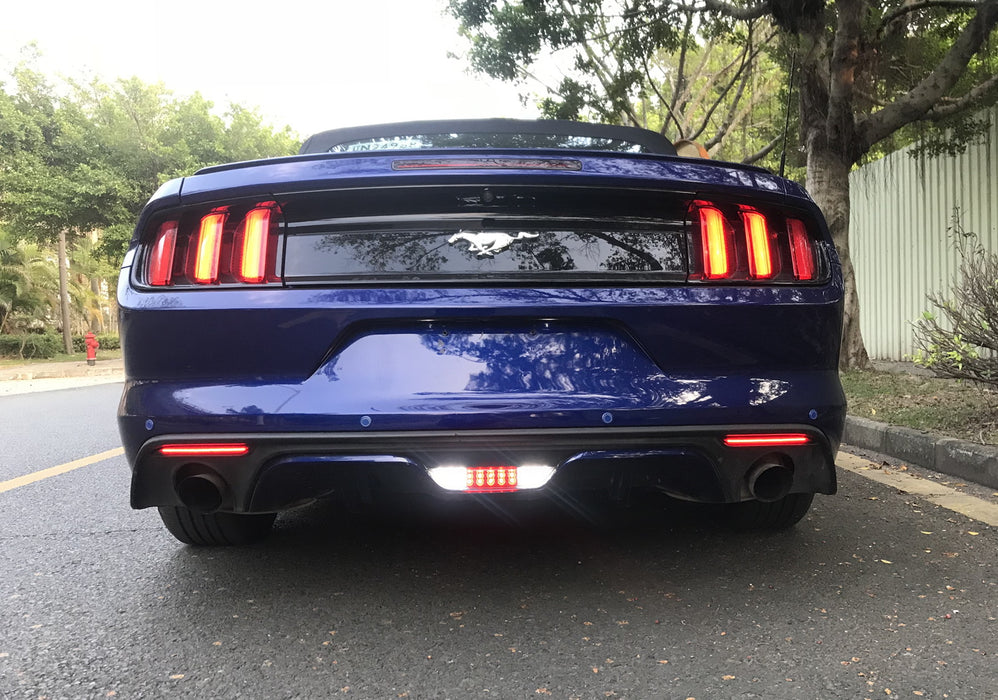 LED REAR 4th BRAKE TAIL BACK UP REVERSE LIGHT SMOKED for 2015-2017 FORD MUSTANG