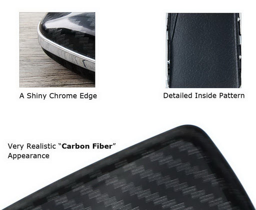 "Exact Fit Black Glossy""Carbon Fiber"" Pattern Key Fob Shell For 2018-up Toyota Camry Flip Blade Key"