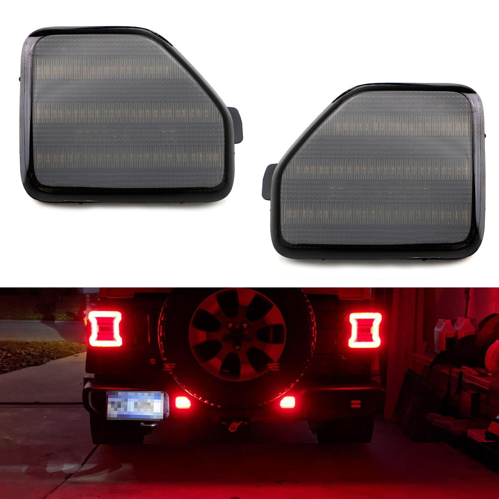 2x Black Smoked Lens Rear Bumper Reflector LED Fog Tail Stop Brake Light DRL For C1 C5 Dispatch Jumpy 107 206 SW 607 Expert Scudo