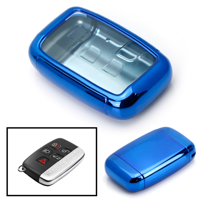 Blue or Red TPU Key Fob Case w/ Button Cover For 2010-2017 Land Rover  Ranger Rover, 12-15 LR2 LR4 Discovery & 2011-up Jaguar XE XJ XF XK F-Type  F-Pace