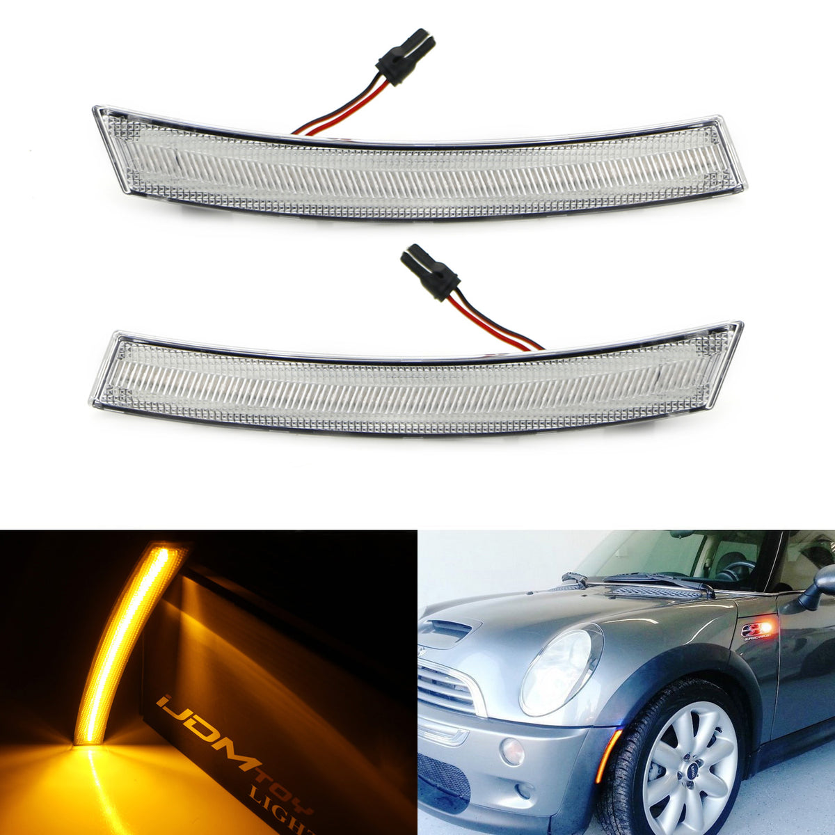 Fits Mini Cooper S R53 Red 4-LED Xenon Bright Side Light Beam Bulbs Pair Upgrade