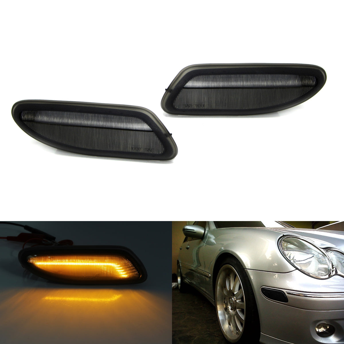 (2) Smoked Lens Amber LED Front Sidemarker Lamps For 2001-2007 Mercedes  W203 C-Class Sedan