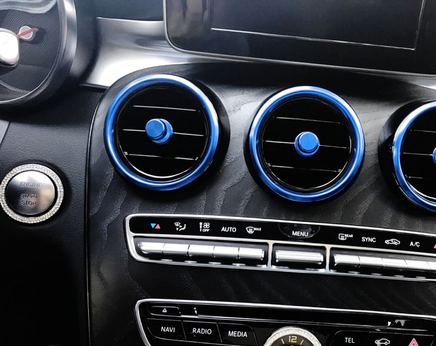 7pc Sports Blue or Red Aluminum Air Conditioner Vent/Opening Outer Trim  Covers For 2015-up Mercedes W205 C-Class, 2016-up X205 GLC-Class
