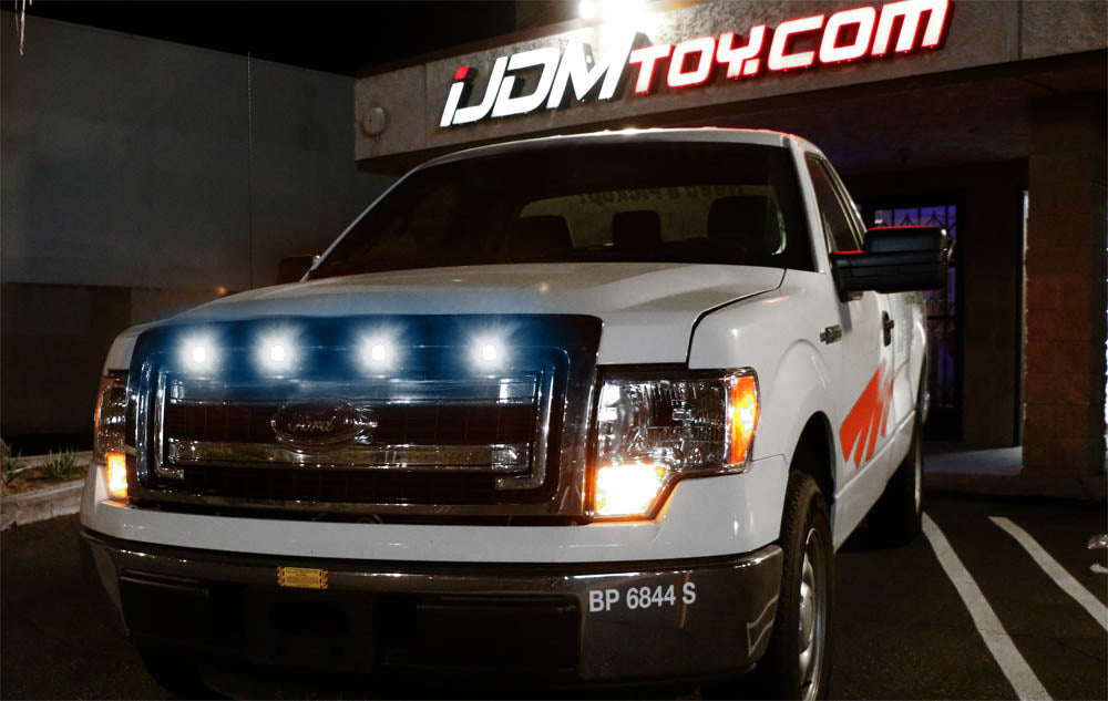 chevy dodge ford gmc ford raptor style led grille lighting kit ijdmtoy com ford raptor style amber or white led grille lighting kit for chevy dodge ford gmc 4 piece 3000k or 6000k grill or side marker light set