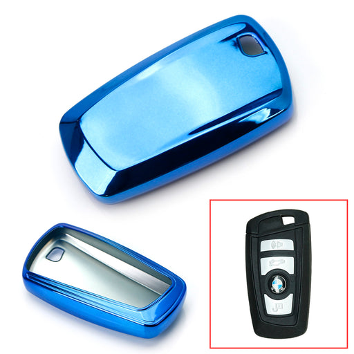 Black, Blue or Red Finish TPU Key Fob Protective Cover Case For BMW 1 2 3 4 5 6 7 Series X1 X3 X4 (Please verify your actual key before buying)-iJDMTOY