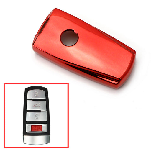 Black, Blue or Red Finish TPU Key Fob Protective Cover Case For 2006-2008 Volkswagen Passat or 2009-2012 CC-iJDMTOY