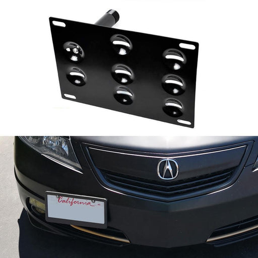 No Drill Front Bumper Tow Hook License Plate Mounting Bracket Adapter Kit For 2009-2014 Gen4 Acura TL-iJDMTOY