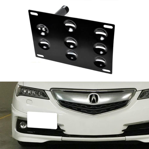 No Drill Front Bumper Tow Hook License Plate Mounting Bracket Adapter Kit For 2015-up Acura TLX-iJDMTOY