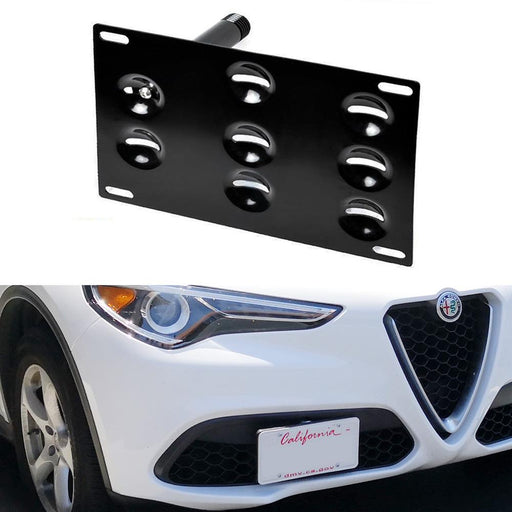 No Drill Front Bumper Tow Hook License Plate Mounting Bracket Adapter Kit For 2018-up Alfa Romeo Stelvio (949)-iJDMTOY