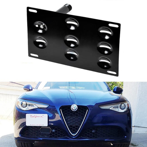 No Drill Front Bumper Tow Hook License Plate Mounting Bracket Adapter Kit For 2017-up Alfa Romeo Giulia (952)-iJDMTOY