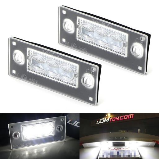 OEM-Fit 3W Full LED License Plate Light Kit For 1999-2001 Audi A4 S4 Avant Hatchback ONLY, Powered by 3-Piece Osram Xenon White LED & Can-bus Error Free-iJDMTOY