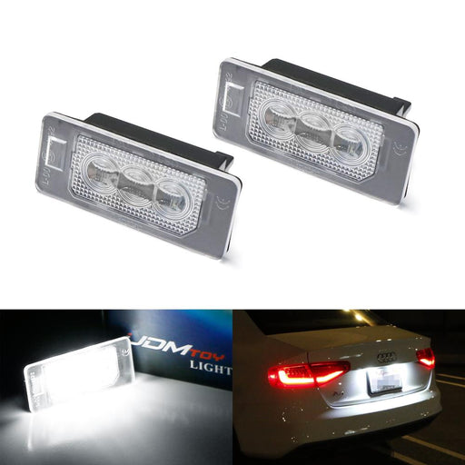 OEM-Fit 3W Full LED License Plate Light Kit For Audi A3 A4 A5 A6 A7 Q3 Q5 Q7 TT Porsche Cayenne Panamera, Powered by 3-piece Osram Xenon White LED & Can-bus Error Free-iJDMTOY