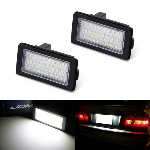OEM-Fit 3W Full LED License Plate Light Kit For 1995-01 BMW E38 7 Series, Powered by 18-SMD Xenon White LED & Can-bus Error Free-iJDMTOY