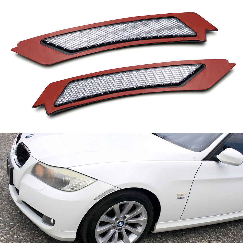 iJDMTOY White//Clear Lens Front Bumper Side Markers Compatible With 2007-2012 BMW E92//E93 3 Series Coupe 328i 335i Replace OEM Amber Reflector Assy